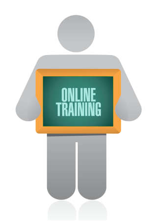 indoctrinate: Online Training board sign concept illustration design graphic