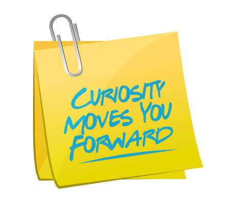 Nieuwsgierigheid beweegt je vooruit memo bericht bord concept illustratie ontwerp