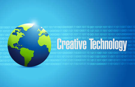 creative technology binary globe sign concept illustration design graphic