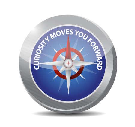 curiosity: Curiosity moves you forward compass sign concept illustration design
