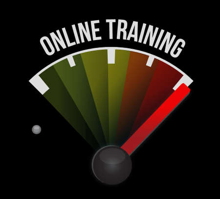indoctrinate: Online Training meter sign concept illustration design graphic