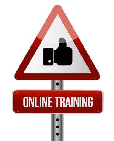 indoctrinate: Online Training warning like sign concept illustration design graphic