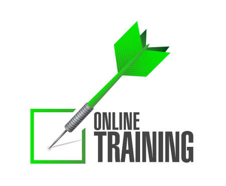 indoctrinate: Online Training check dart sign concept illustration design graphic