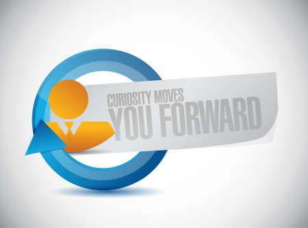 curiosity: Curiosity moves you forward avatar business sign concept illustration design