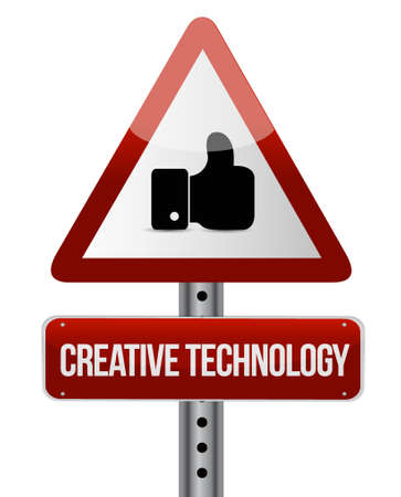 creative technology warning like road sign concept illustration design graphic