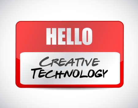 creative technology name tag sign concept illustration design graphic Ilustração