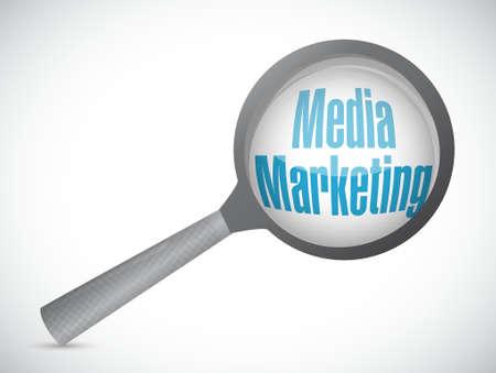 Media Marketing magnify glass sign concept illustration design graphic
