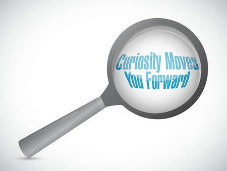brainstorming: Curiosity moves you forward magnify sign concept illustration design Illustration