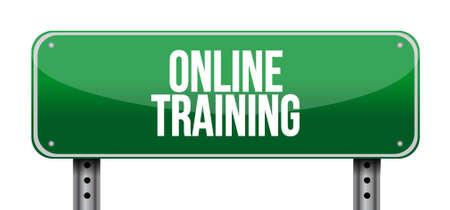 indoctrinate: Online Training road sign concept illustration design graphic Illustration