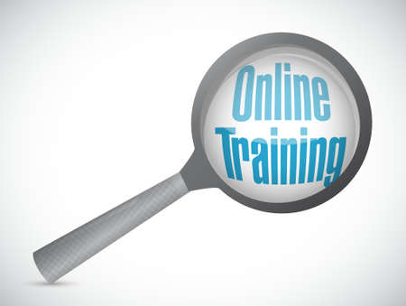 initiate: Online Training magnify glass sign concept illustration design graphic