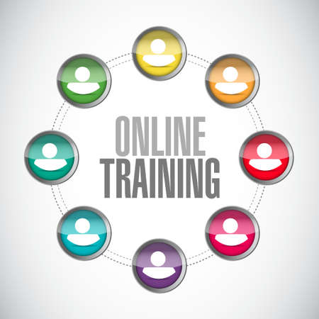 indoctrinate: Online Training network sign concept illustration design graphic