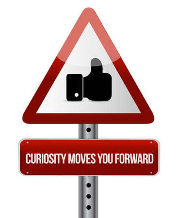 호기심은 기호 개념 일러스트레이션 디자인처럼 앞으로 나아 간다.