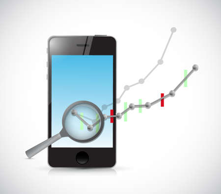 stockmarket chart: business graph review on phone. illustration design