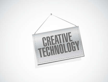 experimental: creative technology hanging banner sign concept illustration design graphic
