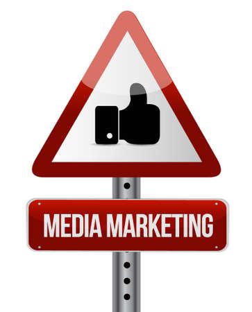 Media Marketing warning road sign concept illustration design graphic