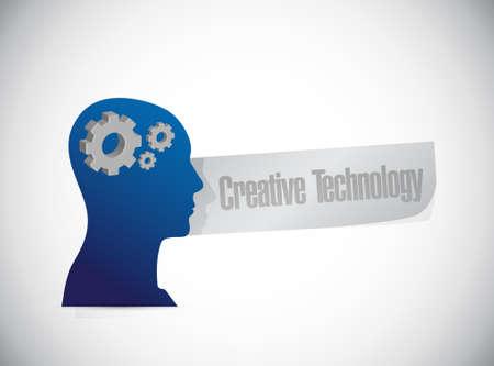 creative technology training brain sign concept illustration design graphic