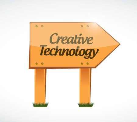 creative technology wood sign concept illustration design graphic