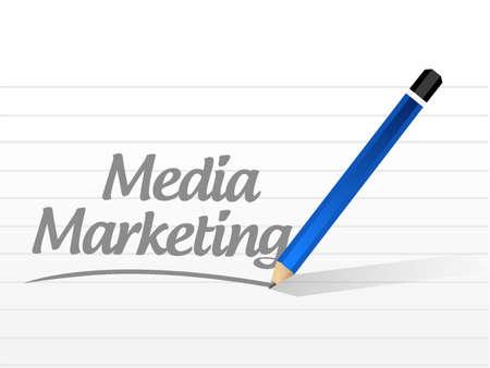comunicación escrita: Media Marketing mensaje muestra la ilustración del concepto de diseño gráfico