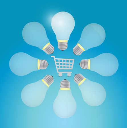 shopping cart around light bulbs. illustration design