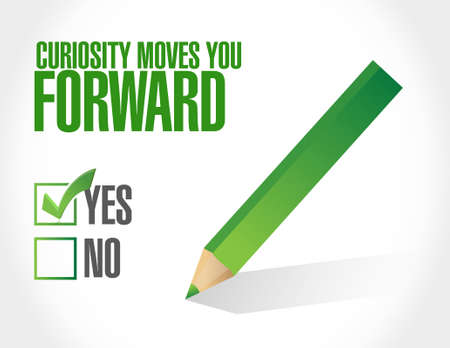 answer approve of: Curiosity moves you forward approval sign concept illustration design Illustration