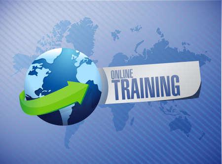 indoctrinate: Online Training globe sign concept illustration design graphic