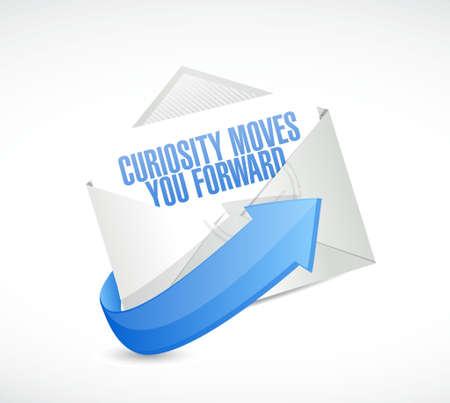 Curiosity moves you forward envelope sign concept illustration design Ilustração