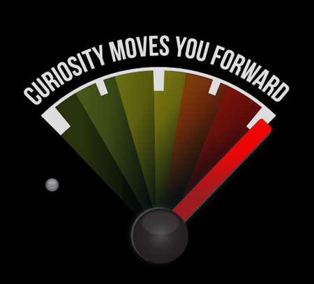 moves: Curiosity moves you forward meter sign concept illustration design