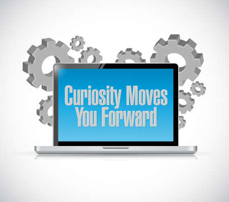 moves: Curiosity moves you forward laptop sign concept illustration design