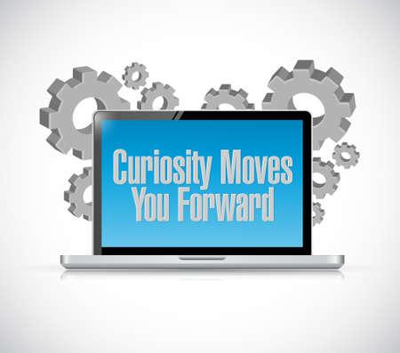 moves: Curiosity moves you forward laptop sign concept illustration design