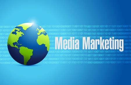 binary globe: Media Marketing globe binary sign concept illustration design graphic Illustration