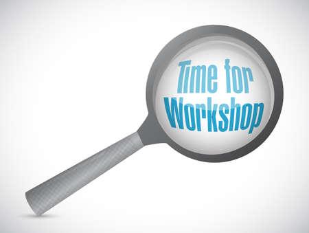 career coach: Time for workshop magnify glass sign concept illustration design graphic