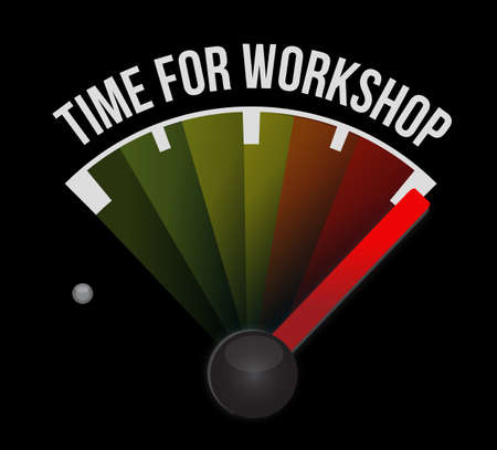 career coach: Time for workshop meter sign concept illustration design graphic Stock Photo