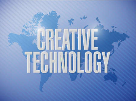 high tech world: creative technology world map sign concept illustration design graphic