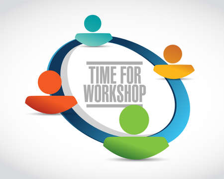 Time for workshop people network sign concept illustration design graphic