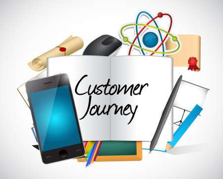 referral: customer journey tools and sign illustration design graphic