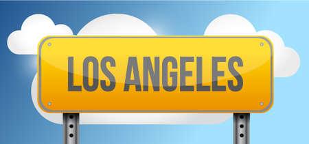 los angeles: los angeles yellow street road sign illustration design