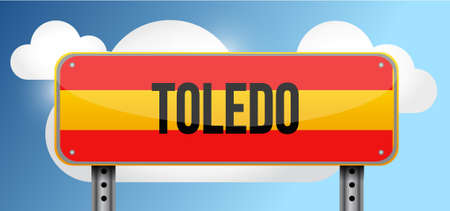 blue signage: toledo spain road street sign illustration design graphic Illustration