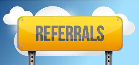 referrals: referrals yellow street road sign illustration design