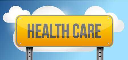 sign post: health care yellow street road sign illustration design Illustration