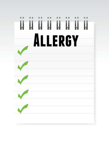 itching: allergy list note paper illustration design graphic
