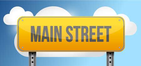 letreros: calle principal calle amarilla señal de tráfico, ilustración, diseño Vectores