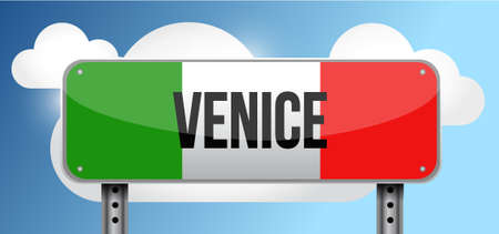 italy street: venice italy road street sign illustration design graphic Illustration