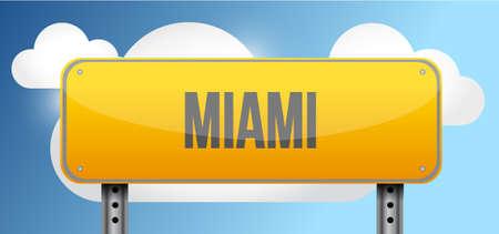 miami south beach: miami yellow street road sign illustration design