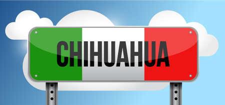 chihuahua mexio road street sign illustration design graphic