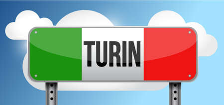 blue signage: turin italy road street sign illustration design graphic Illustration