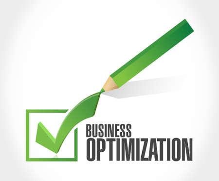 optimization: business optimization check mark sign concept illustration design graphic Illustration