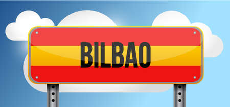 bilbao: bilbao spain road street sign illustration design graphic