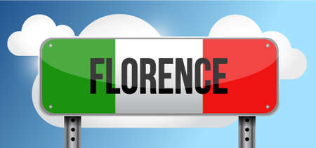 green road sign: florence italy road street sign illustration design graphic Illustration