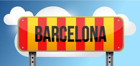 barcelona yellow and red catalan flag street road sign illustration design