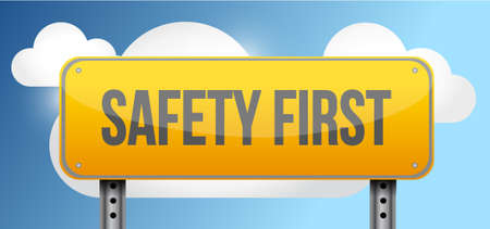 safety first: safety first yellow street road sign illustration design